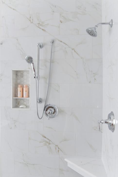 vThe Glenmont Project reveal - modern transitional master bathroom renovation in Houston by Nancy Lane Interiors