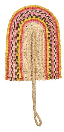 Decorative Hand Woven Seagrass Fan, Pink