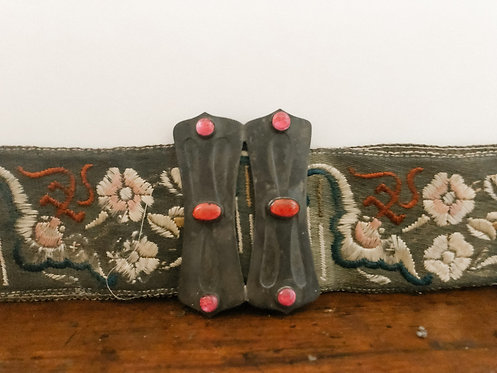 Antique Art Nouveau Asian Motif w/Pewter Belt 1920's
