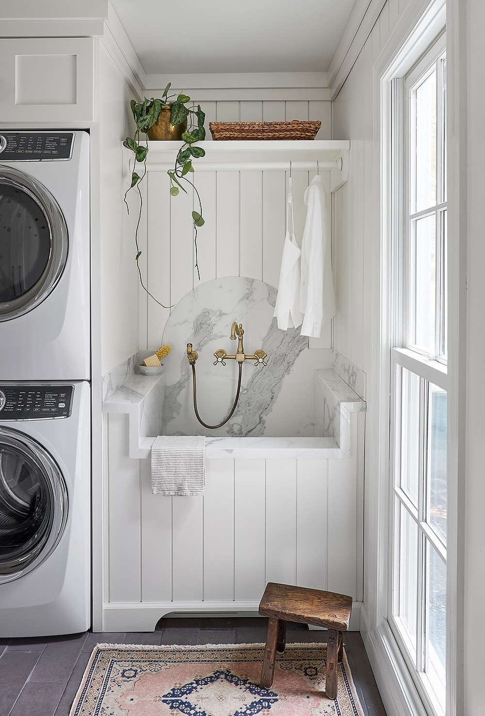 laundry room with vintage rug