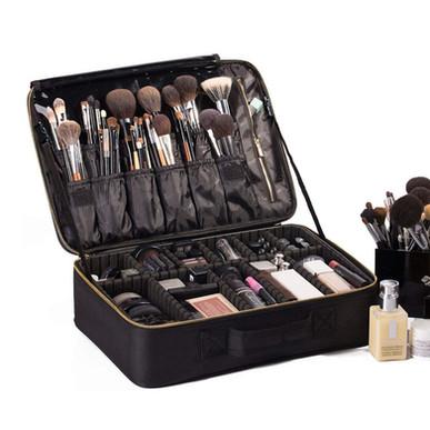 "ROWNYEON Travel Makeup Bag, Waterproof with Adjustable Dividers 16.1"""