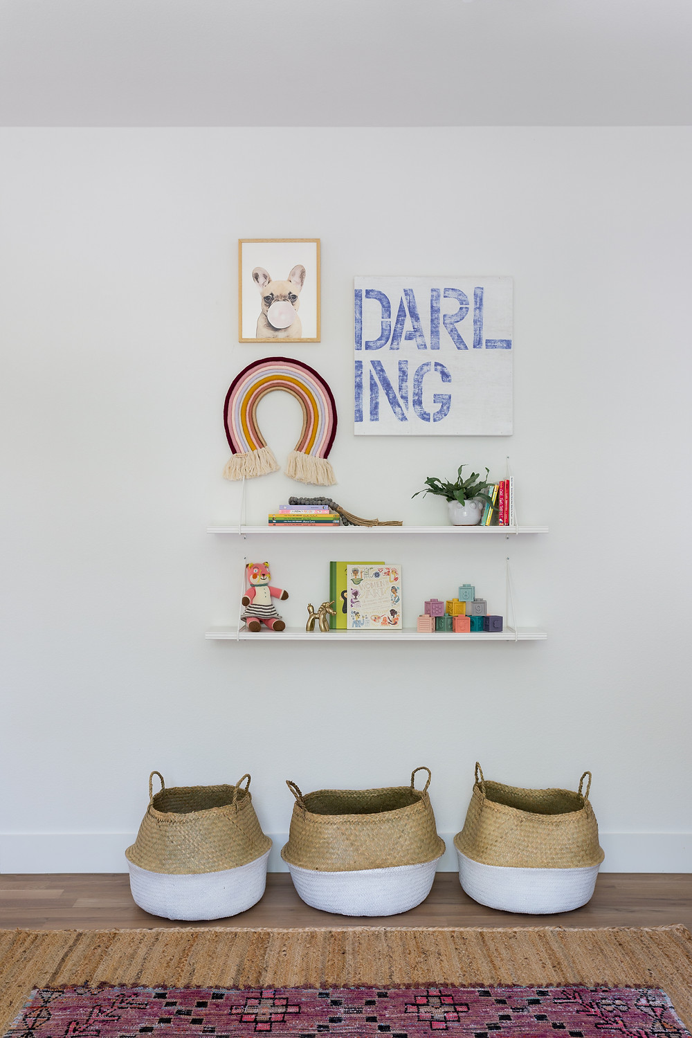floating shelves with baskets