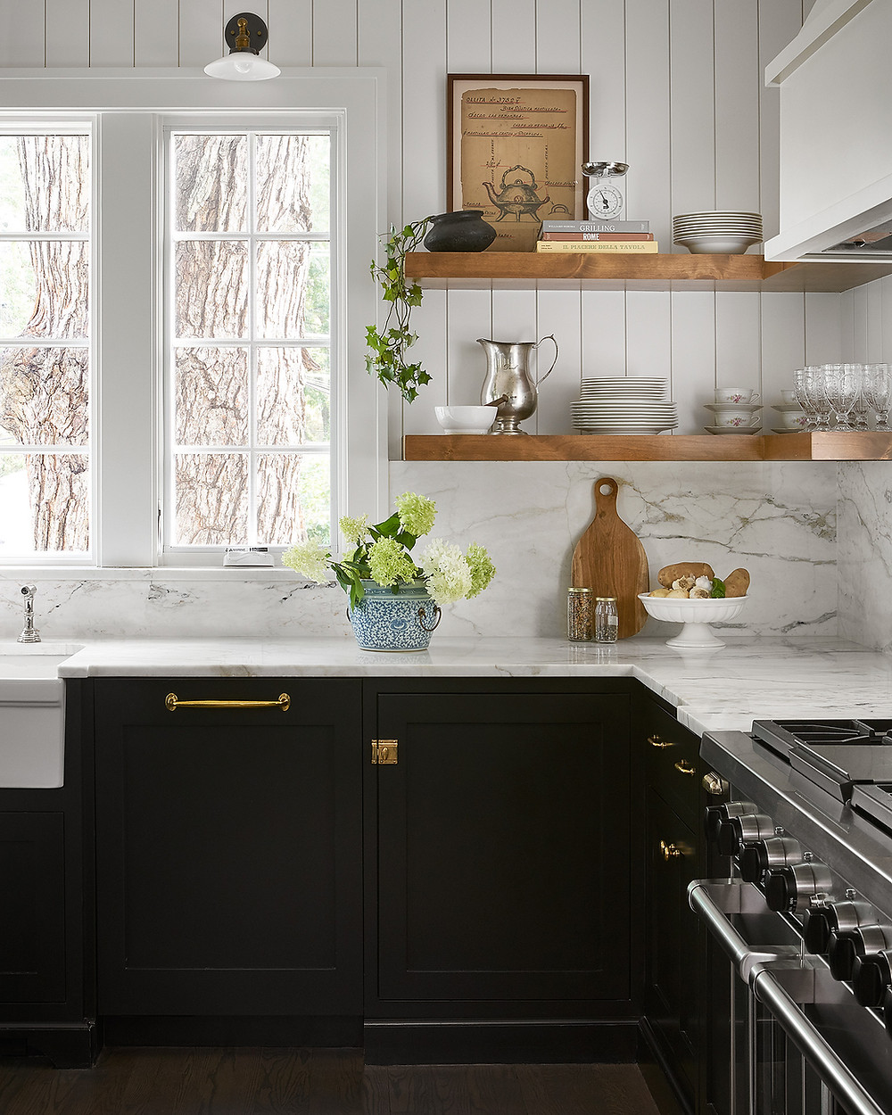 kitchen with marble and open shelving