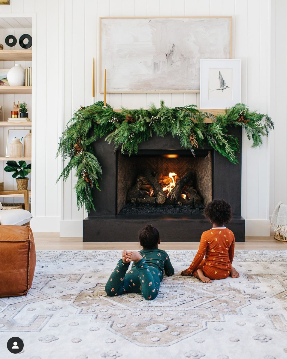 fireplace with asymmetrical garland