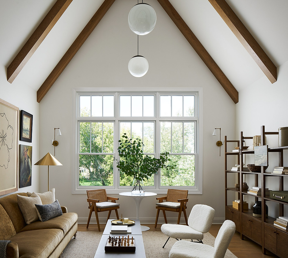 living space with wood beams