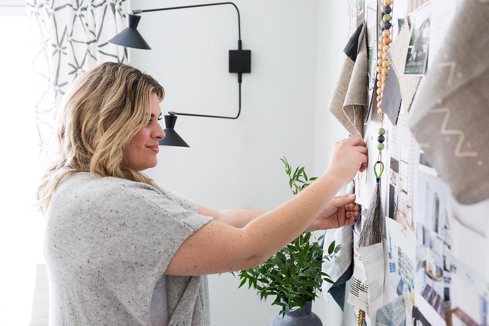 Designer Lindsey Borchard works on an inspiration board