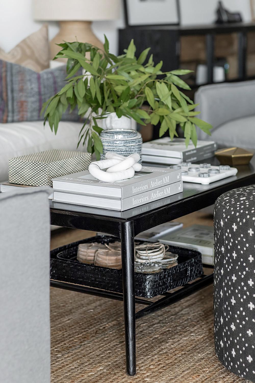 black coffee table at Lindsey Brooke Design
