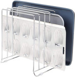 mDesign Large Metal Wire Organizer Rack for Kitchen Cabinet, Pantry, Shelves - 5 Slots