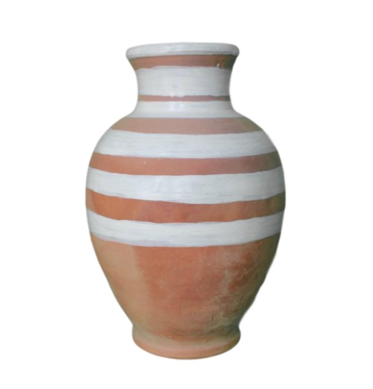 Terra Cotta Vase with Stripes