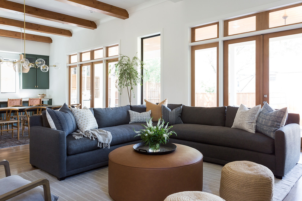 living room with charcoal sectional sofa