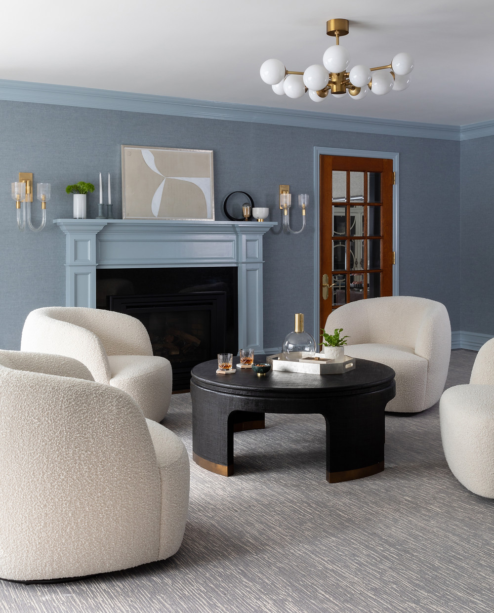lounge space with blue linen wallcovering