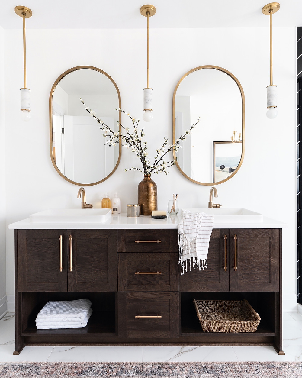 Statement vanity moment seen at the Pinefield project designed by Ottawa firm Leclair Decor