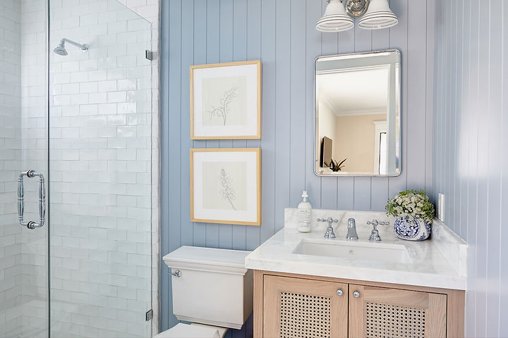 A timeless kids bathroom and a light and airy guest bath