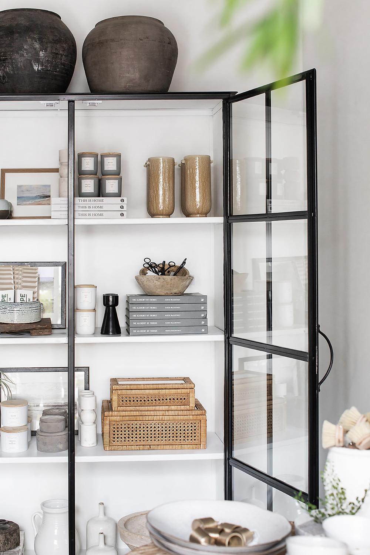 black cabinet with white interior