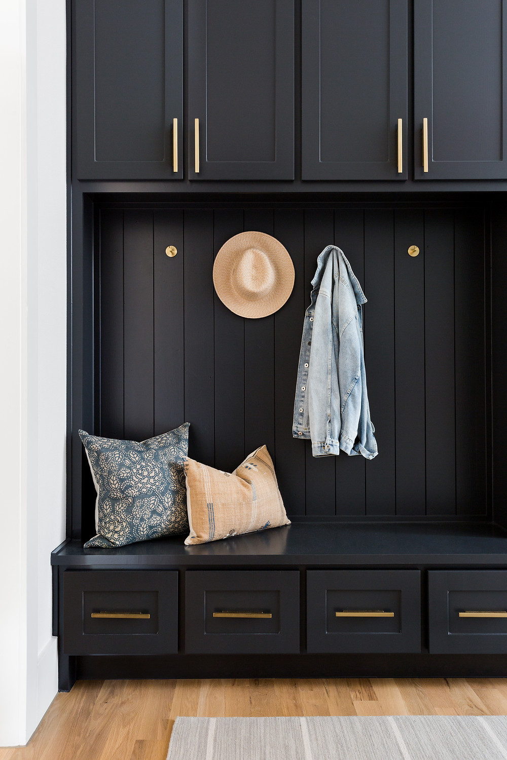 dark cabinets with brass hardware
