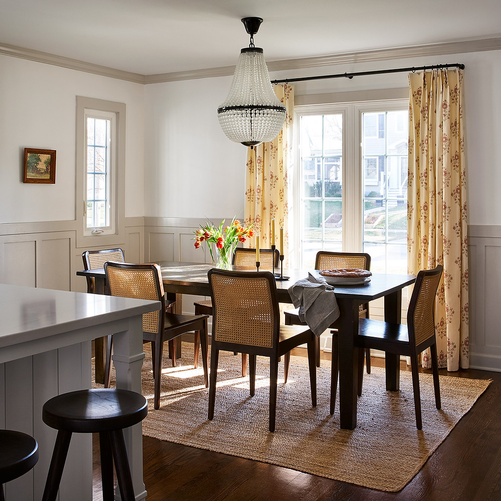 dining room with greige wainscot
