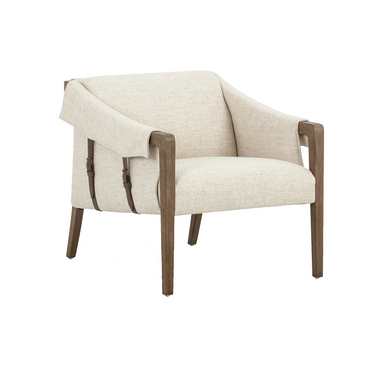 Cream-coloured upholstery to parawood framing by way of trend-forward buckles. Angular arms honor mid-century design, adding a throwback feel to a cutting-edge look.