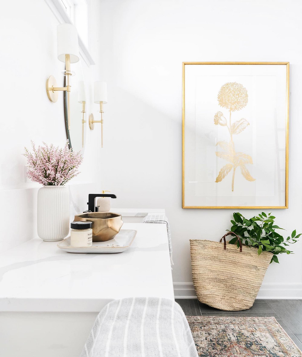Brass makes a statement here in Leclair Decor's Mapleview project