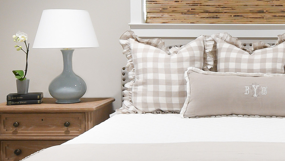 Transitional romantic bedroom by Houston interior design firm Nancy Lane Interiors.