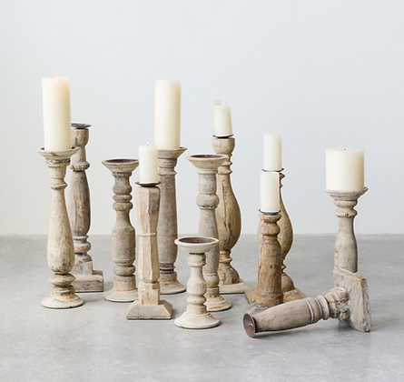 Reclaimed Wood & Metal Candle Holders (Set of 6)