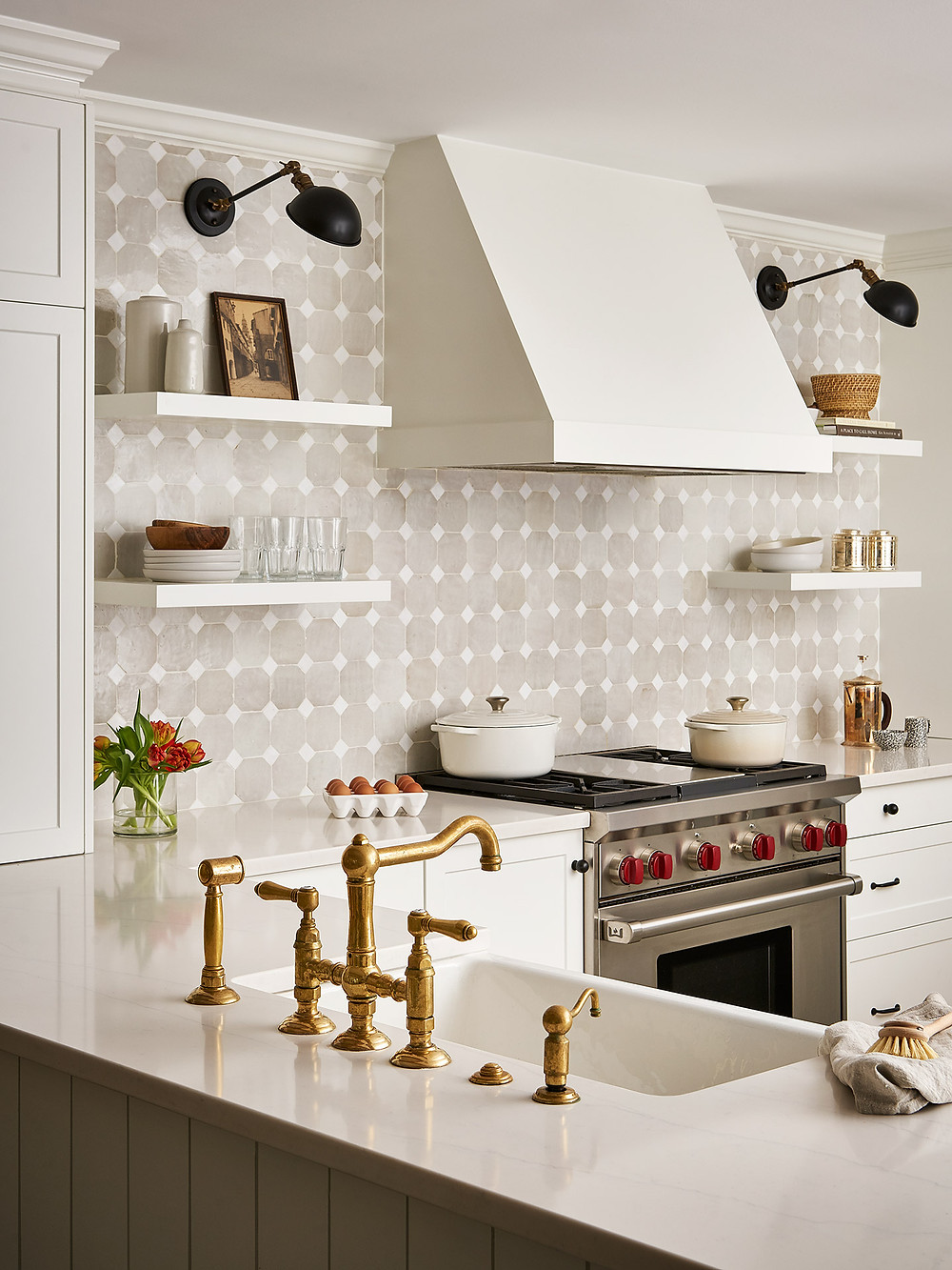 kitchen with brass faucet