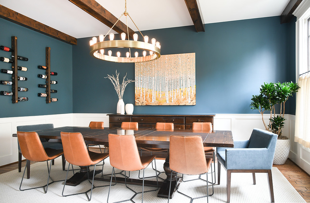 Modern transitional dining room by Houston interior design firm Nancy Lane Interiors