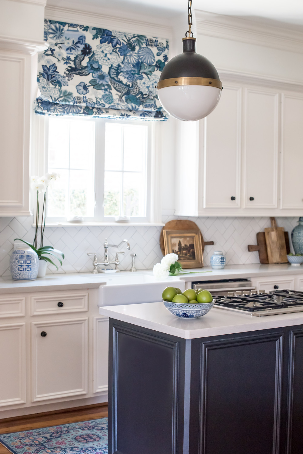 Traditional blue and white kitchen by Nancy Lane Interiors and Mary Ann Pickett of classic casual home