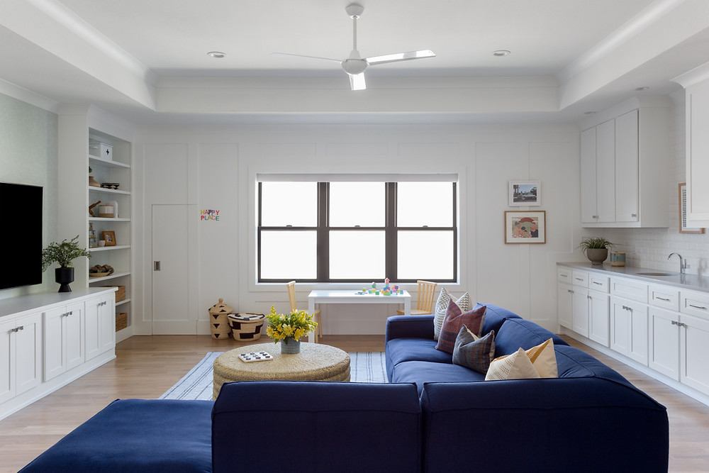 family room with blue sectional