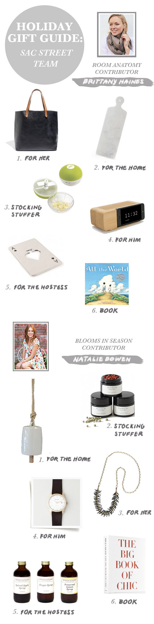 Gift Guide: Sac Street Team (Brittany & Natalie)