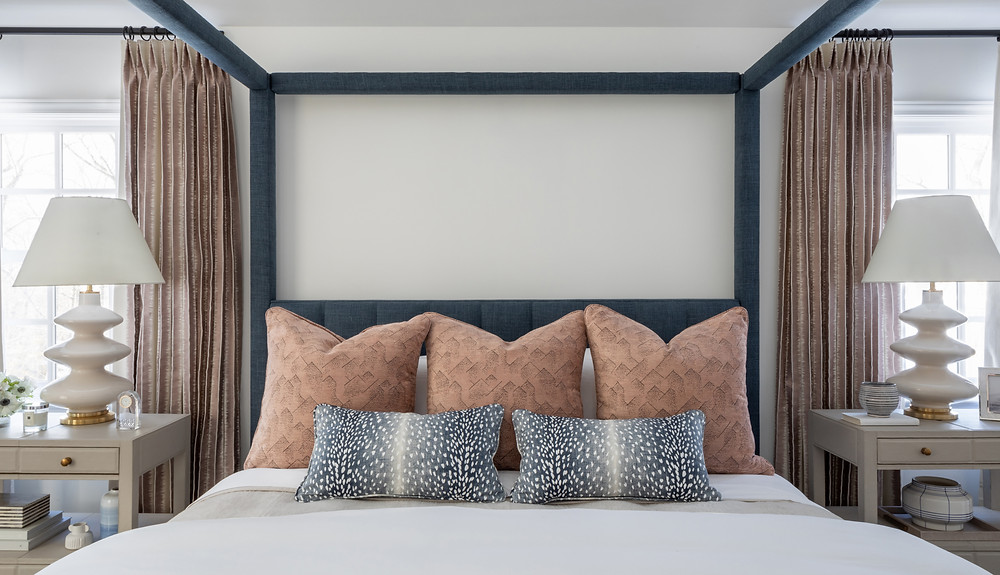 bedroom with canopy bed by Britt Design Studio