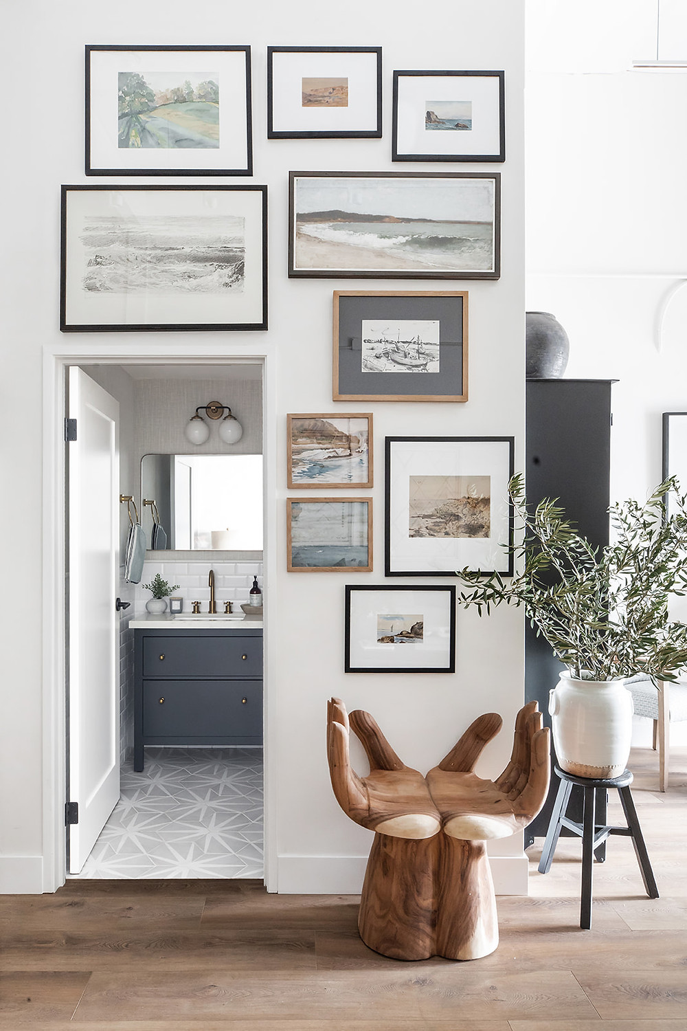 gallery of seascapes in studio at Lindsey Brooke Design