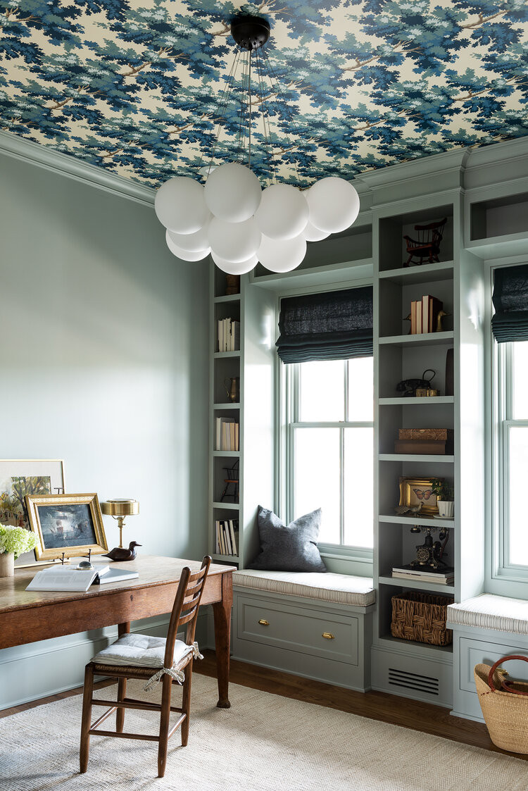 office with wallpaper on ceiling