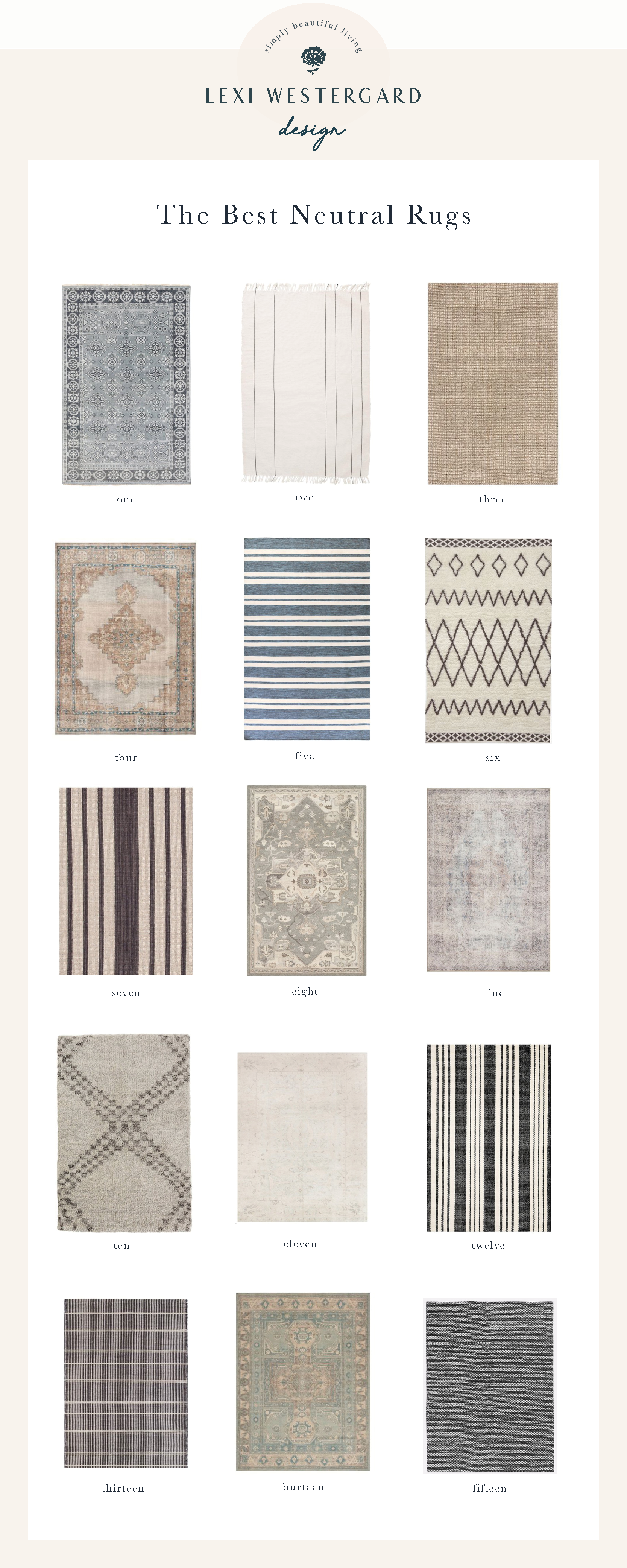 Lexi Westergard Design's Guide to Rugs including the best materials, sizing, care and maintenance. Shop our favorite neutral rugs on the blog.