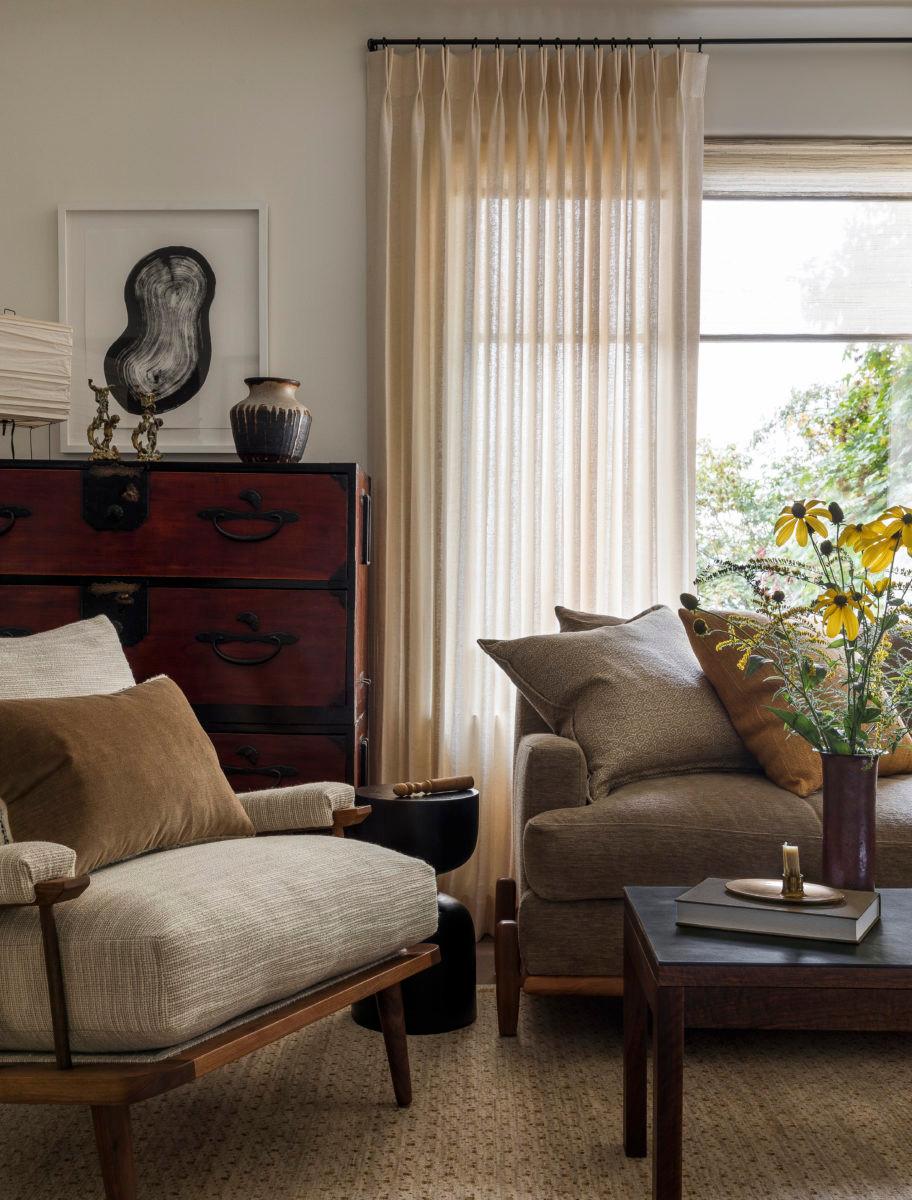 living room with custom drapery