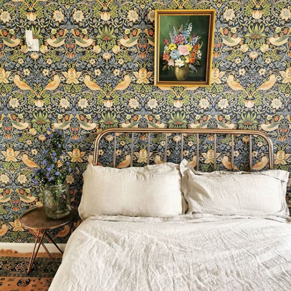 Morris & Co. Wallpaper Bedroom by No Feature Walls