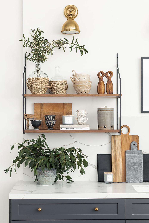 open shelving and quartz counters