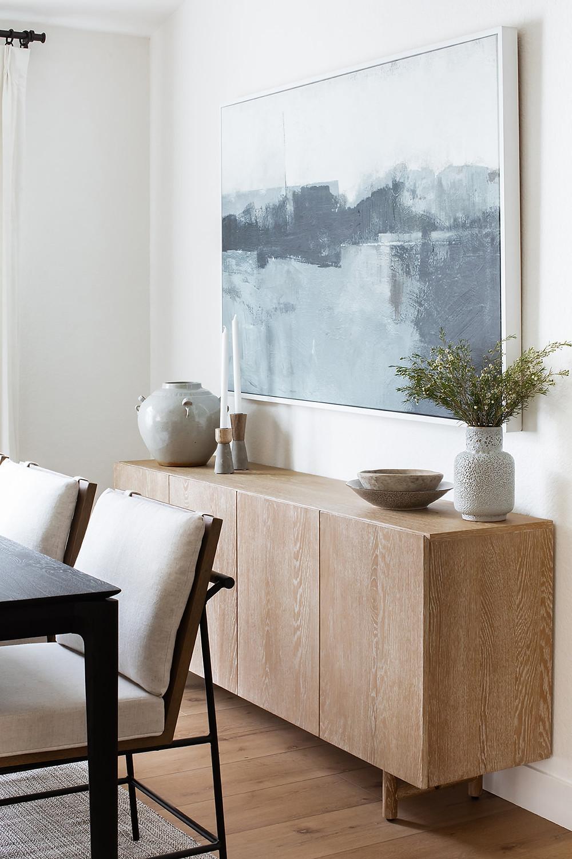 side board with modern art