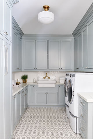 A classic laundry room with a fun twist