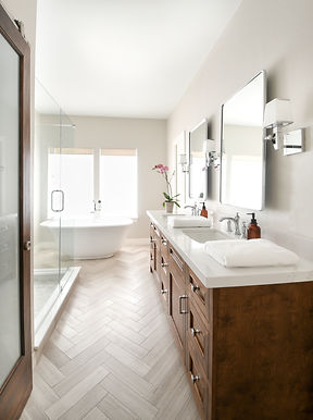 Modern transitional primary bathroom full service design project by Houston based residential interior design firm Nancy Lane Interiors.