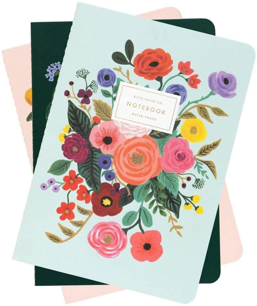 Garden Party Stitched Lined Notebooks, Set of 3