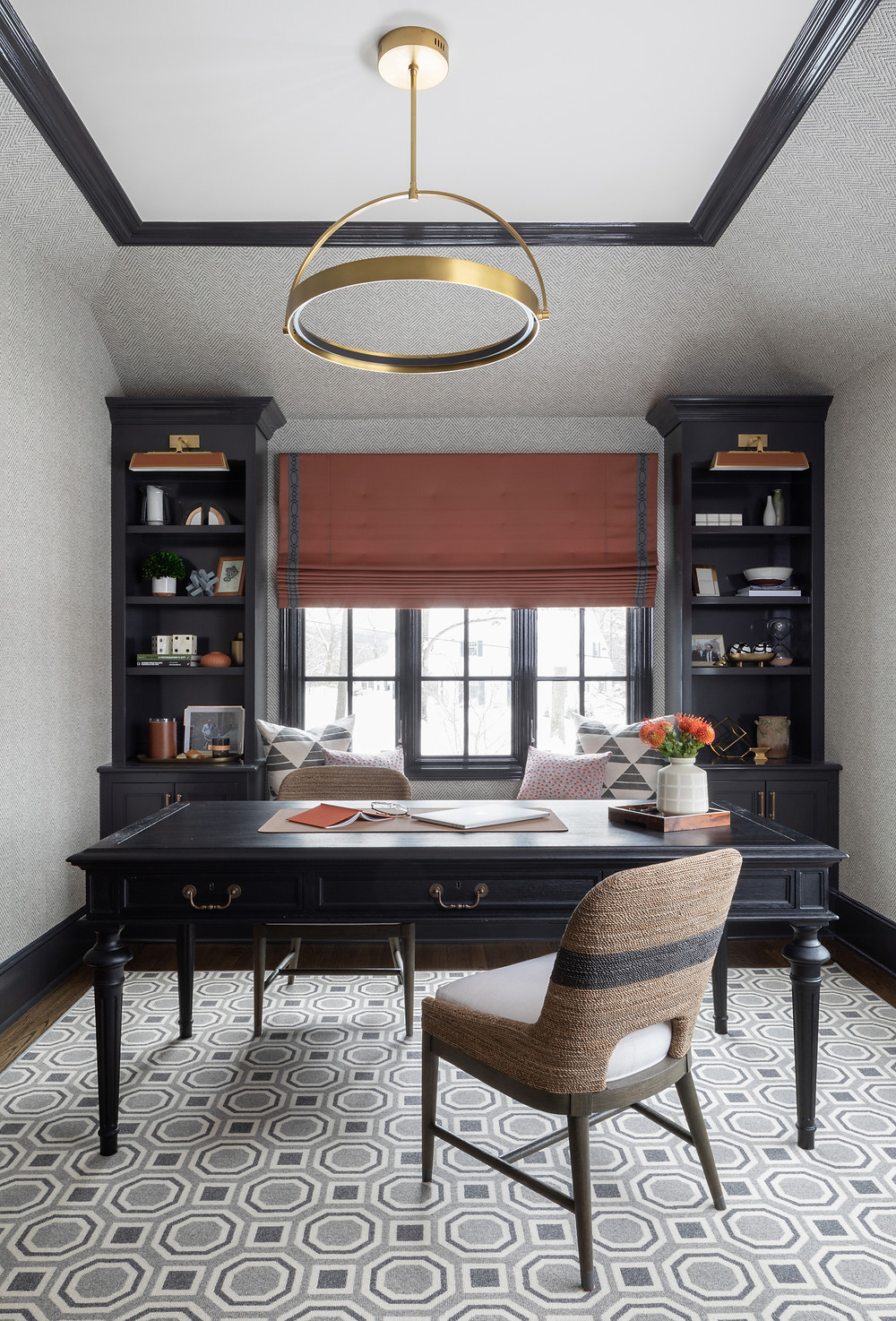 study with dark desk and built-ins
