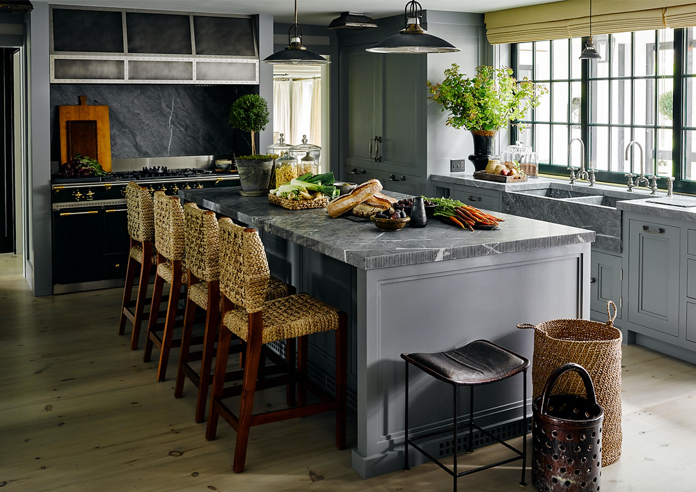 kitchen with gray cabinetry