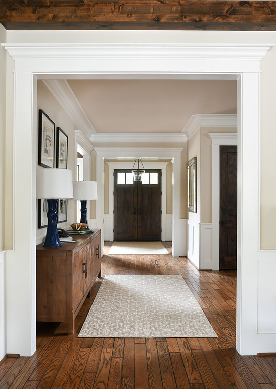 Modern transitional entry hallway by Houston interior design firm Nancy Lane Interiors