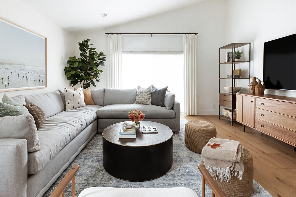 family room with grey sectional sofa