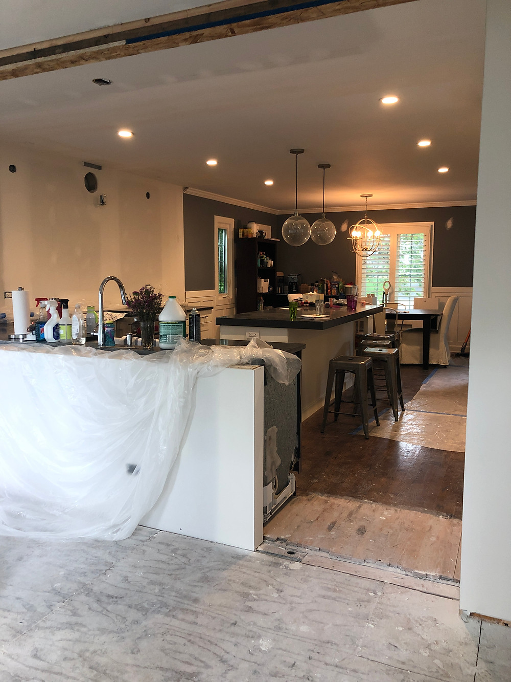 kitchen and dining room during renovation