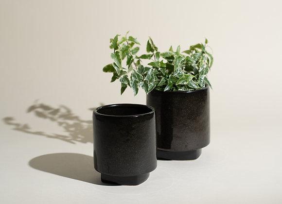 Black Ceramic Planter Set