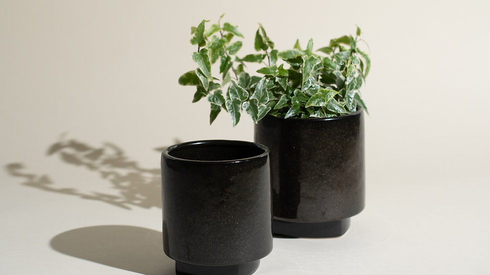 Black Ceramic Planter Set