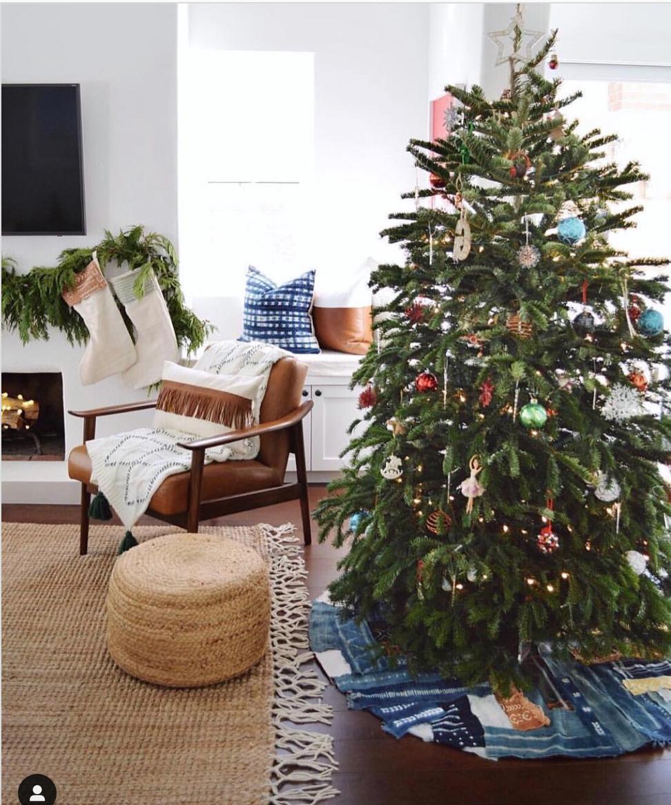 Christmas tree with mudcloth skirt