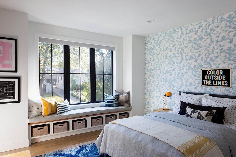boys bedroom with cloud wallpaper