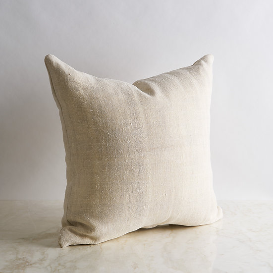 Vintage Linen Pillow Cover - Ivory